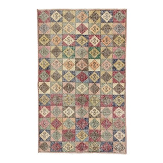 Vintage Turkish Colorful Deco Rug - 4′5″ × 7′2″
