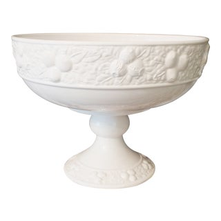 White Ceramic Large Footed Pedestal Fruit Bowl