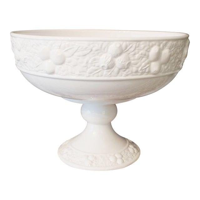 White ceramic large footed pedestal fruit bowl chairish