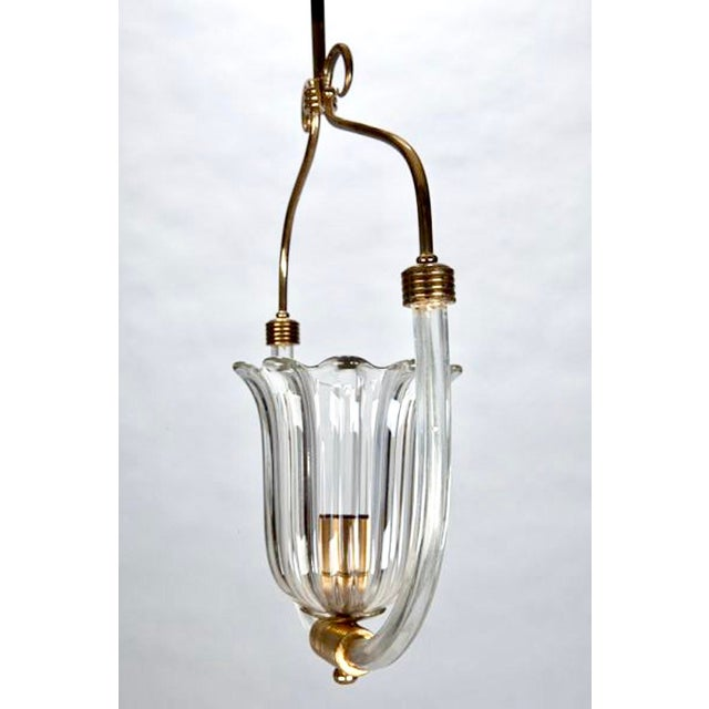 Barovier and Toso Art Deco Era Glass and Brass Pendant Fixture - Image 3 of 4