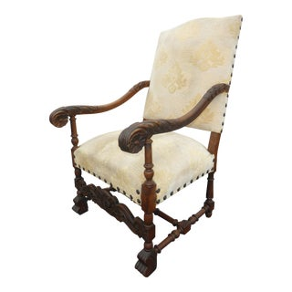 Antique French White Throne Chair Highly Carved With Clavos Spanish Style