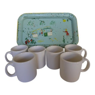 1950s Trolley Tray With Syracuse Coffee Cups - Set of 7