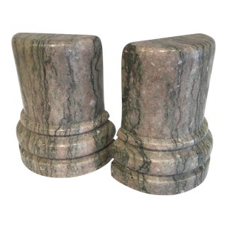 Vintage Gray Marble Books Ends - a Pair