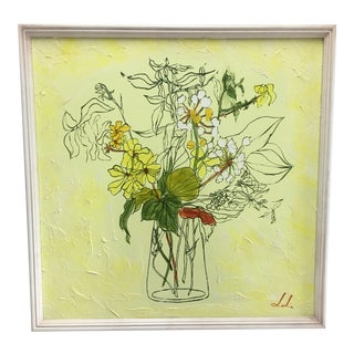 Vintage Yellow Flower Painting