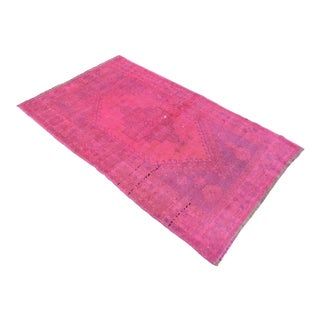 "Hot Pink Overdyed Hand Knotted Rug Turkish Carpet - 3'8"" x 5'11"""