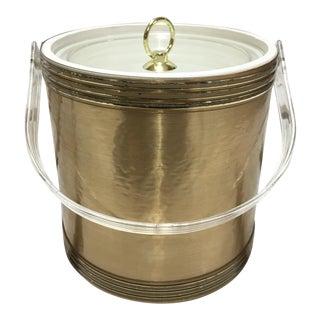 Mid-Century Gold Vinyl and Acrylic Ice Bucket