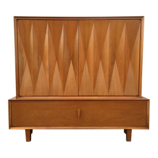 Mid-Century Sculptural Diamond Front Chest