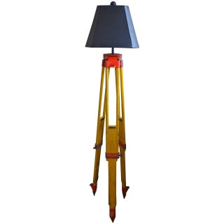 Wood & Steel Floor Lamp from Surveyor's Tripod