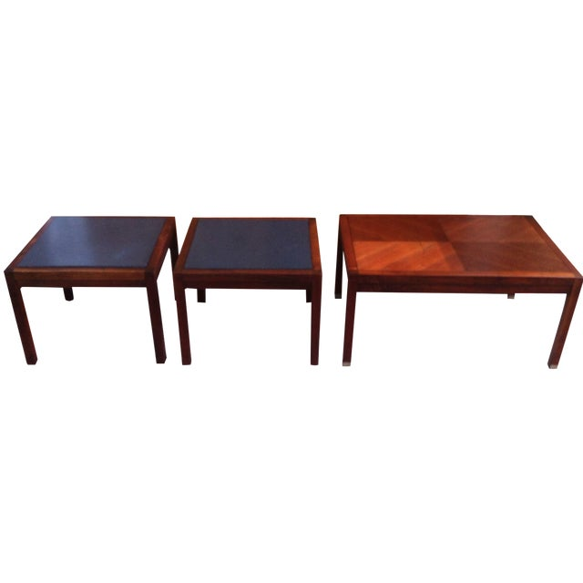 Mid-Century Slate and Walnut End Tables - Set of 3 - Image 1 of 8