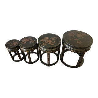 Contemporary Gilded Chinoiserie Style Nesting Tables - Set Of 4