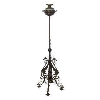 Bradley & Hubbard Antique Wrought Iron Floor Oil Lamp