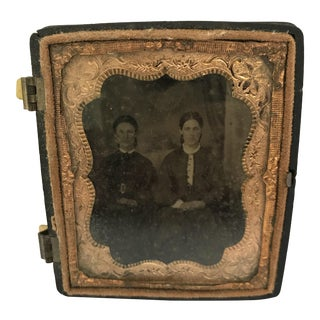 Antique Daguerrotype Photo in Copper Frame