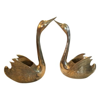 Large Brass Swan Planters