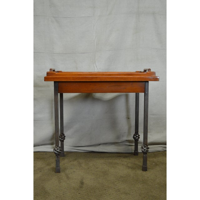 Custom Pair of Iron Base Tray Top Side Tables - Image 9 of 11