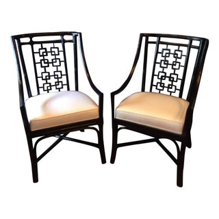 Ebony Bamboo Lattice Chairs - A Pair