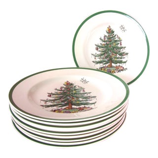 Spode Christmas Tree Dinner Plates - Set of 10