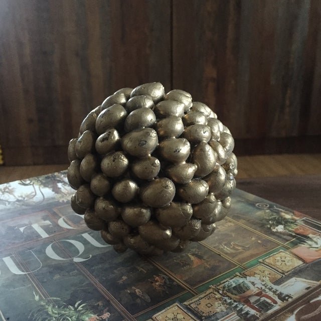 Gold Decorative Shell Balls - Set of 3 - Image 4 of 5