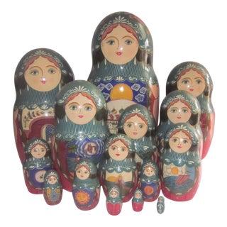 Giant Set of Fifteen Matryoshka Dolls