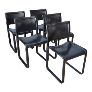 Matteo Grassi Sistina Strap Black Leather Dining Chairs - Set of 5
