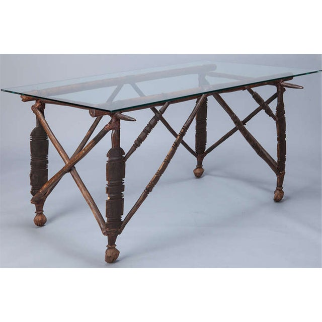 North African Carved Wood Table With Glass Top - Image 2 of 8