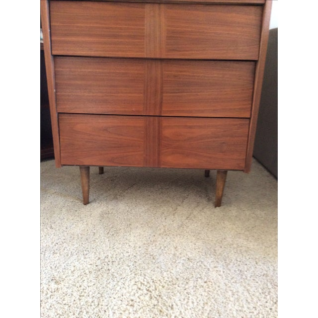 Mid-Century Modern Louvered Highboy Dresser - Image 7 of 10