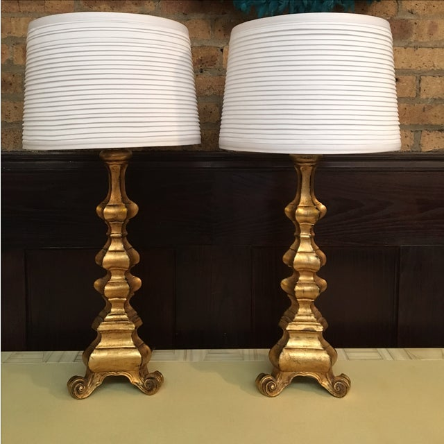 Image of Gilded Italian Carved Wood Table Lamps - A Pair