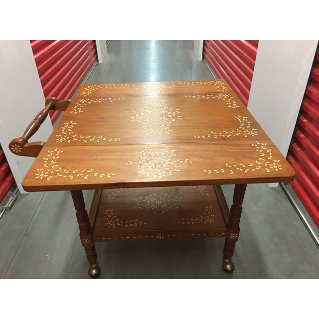Filipino Drop-Leaf Inlaid Serving Tray Tea Cart - Image 9 of 11