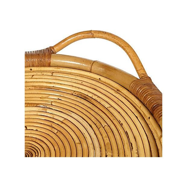 Image of Vintage 1950s Rattan Serving Tray