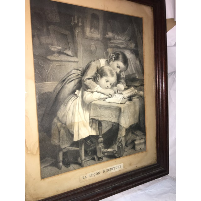 """19th Century """"The Writing Lesson"""" Lithograph - Image 6 of 11"""