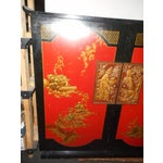 Image of Chinoiserie Red Lacquer Cabinet Tube Radio