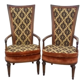 Mid-Century Statesville Chair Company Square High Back Chairs - A Pair