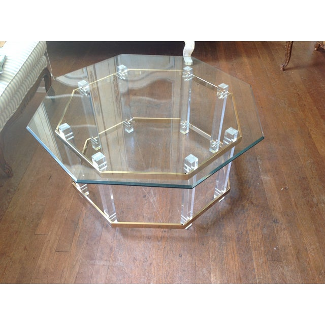 Image of Vintage Octagonal Lucite & Brass Coffee Table