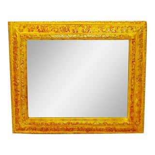 Vintage Gilt Framed Rectangular Beveled Wall Mirror