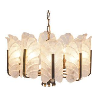 Barovier & Toso Murano Glass Acanthus Leaf Chandelier