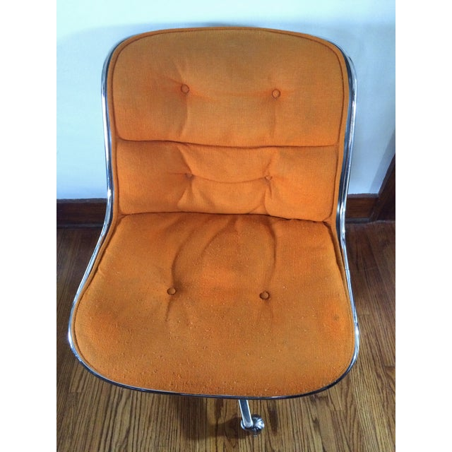 Charles Pollock for Knoll Orange Wool Office Chair - Image 4 of 4