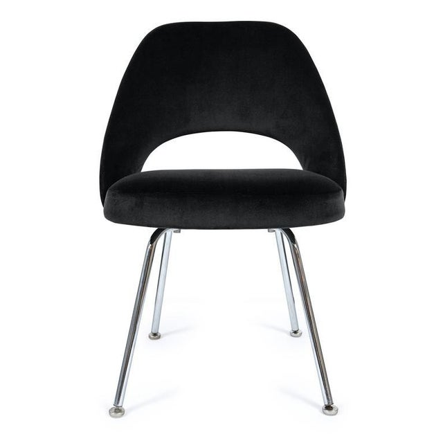 Saarinen Executive Armless Chairs in Black Velvet, Set of Six - Image 1 of 3