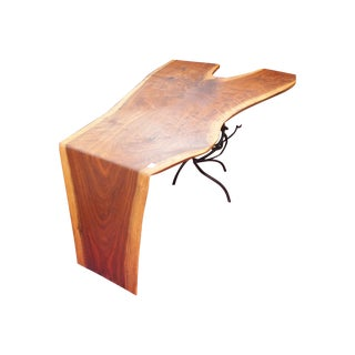 Custom Walnut Coffee Table with Iron Base