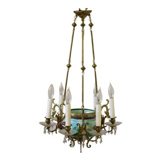 Antique Majolica Turquoise Birds & Flowers Chandelier