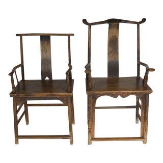 18th Century Qing Dynasty Chinese Woman and Man's Chairs