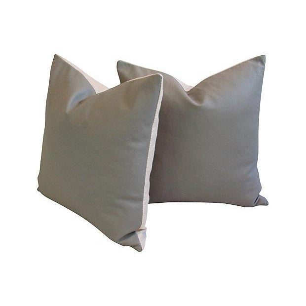 Custom Tailored Italian Gray Leather Feather/Down Pillows - Pair - Image 2 of 7