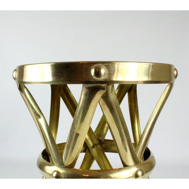 Mid Century Brass X Drum Stool - Image 5 of 8