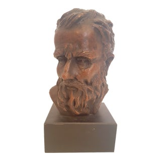 Vintage Wooden Male Bust by Austin Productions