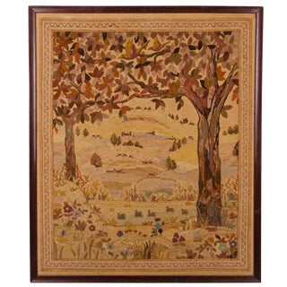 19th C. Framed Crewelwork Embroidery