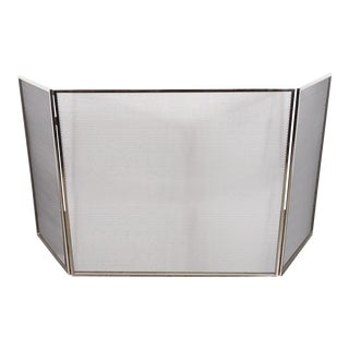 Custom Polished Nickel and Mesh Adjustable Three-Panel Fire Screen