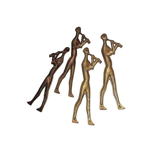 Mid-Century Brass Musicians Wall Hangings - 4 - Image 5 of 8