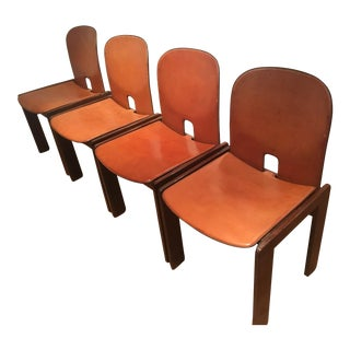 "Vintage Leather & Walnut Tobia and Afra Scarpa ""121"" Chairs - Set of 4"