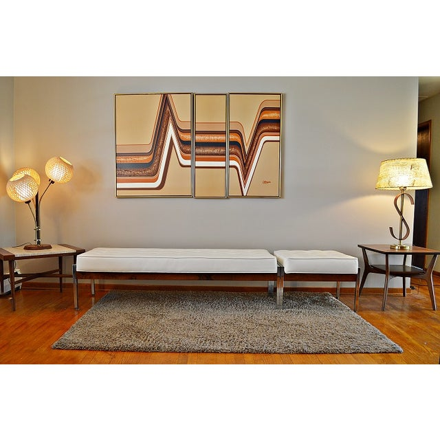 1970s Milo Baughman Style Tufted Chrome Bench - Image 3 of 7