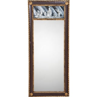 Continental antique pier mirror with eglomise panel