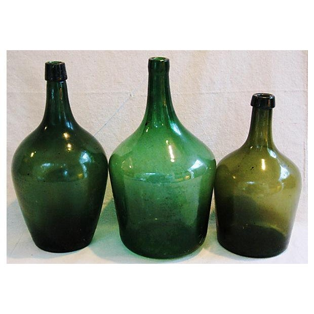 Image of French Hand-Blown Demijohn Bottles - Set of 3