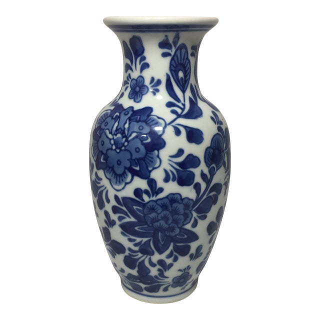 Image of Blue and White Floral Chinoiserie Vase